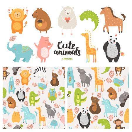 漫画の動物コレクションとシームレスなパターン。 ベクトルかわいいブタ、ライオン、羊、犬、鳥、ウサギ、パンダ、象、馬、白地に愛の動物の赤