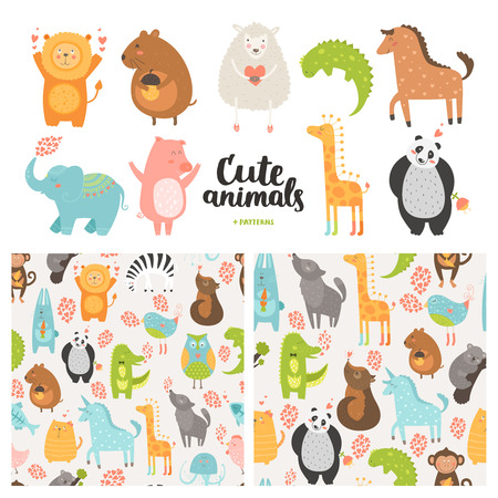 Cartoon animals collection and seamless patterns.  Vector cute pig, lion, sheep, dog, bird, rabbit, panda, elephant,  horse isolated on white background, baby animals in love