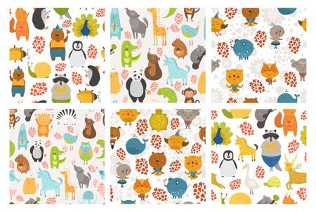 만화 동물 배경 설정합니다. 벡터 귀여운 동물 패턴