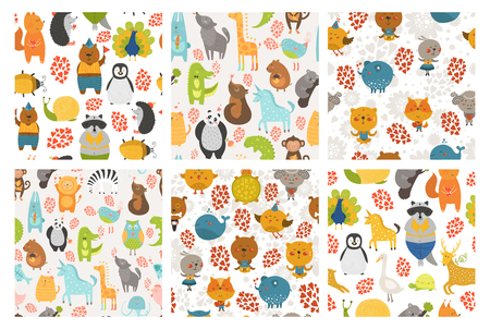 Set of cartoon animals backgrounds. Vector cute animal patterns