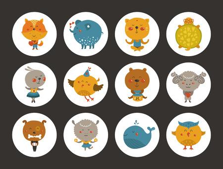 Jeu de avatars animaux, autocollants mignons de bébé animal. Vector renard, tortue, hibou et moutons