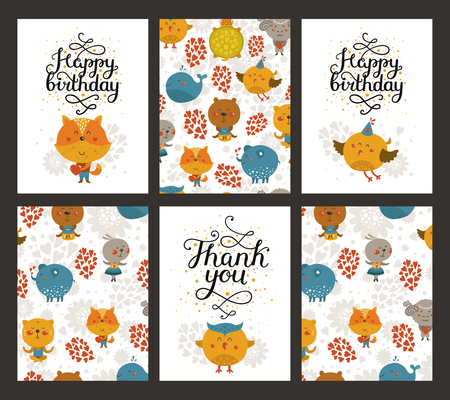 birthday party kids: Vector animal cards, happy birthday card and thank you. Kids birthday party