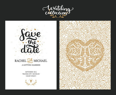 Save the date cards, wedding invitation with hand drawn lettering, heart and branches. Gold and black background. Vector Save the date templates