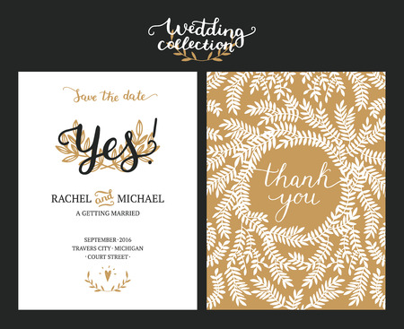 handdrawn: Save the date cards, wedding invitation with hand drawn lettering, heart and branches. Gold and black background. Vector Save the date templates Illustration