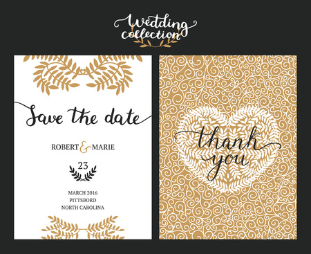 date: Save the date cards, wedding invitation with hand drawn lettering, heart and branches. Gold and black background. Vector Save the date templates Illustration