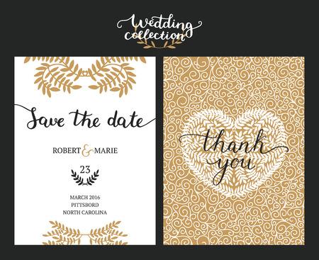Save the date kaarten, huwelijksuitnodiging met de hand getekende letters, hart en takken. Goud en zwarte achtergrond. Vector Save the date templates