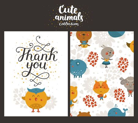 birthday party kids: Vector animal cards, happy birthday card with lettering and cute owl. Kids birthday party
