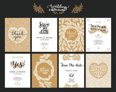 Las tarjetas de fecha, invitación de la boda con las letras dibujado a mano, el corazón y las ramas. Oro y fondo negro. Vector Guardar las plantillas de fecha Ilustración de vector