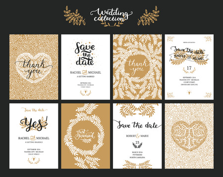 Save the date cards, wedding invitation with hand drawn lettering, heart and branches. Gold and black background. Vector Save the date templates Vectores