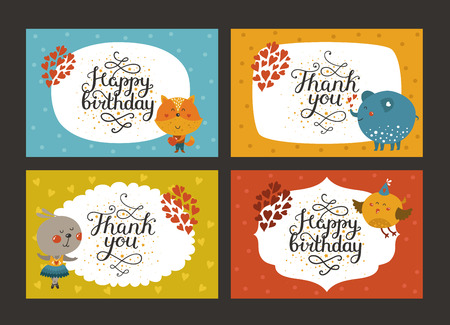 animal border: Set of Cute animal cards with lettering and baby animals in love. Fox, elephant, rabbit, bird. Vector greeting animal card, Thank you, Happy birthday