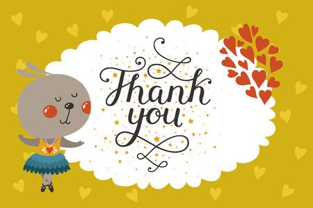 토끼 귀여운 동물 카드. 사랑과 문자로 당신에게 아기 동물 카드 감사합니다. 벡터 인사말 동물 카드