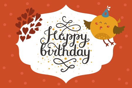 Cute Animal Card With Bird Happy Birthday Card With Baby Animal