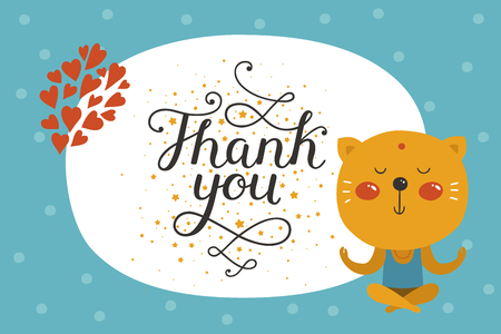 Cute animal card with cat. Thank you card with baby animal in love and lettering. Vector greeting animal card