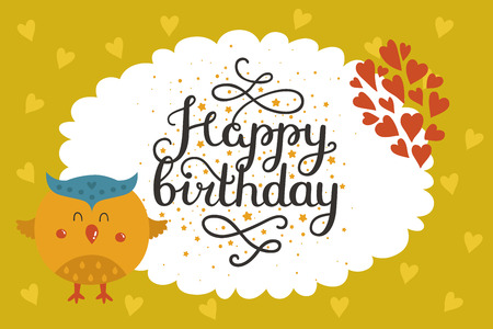 Cute animal card with owl. Happy birthday card with baby animal in love. Vector animal card Imagens - 54217496