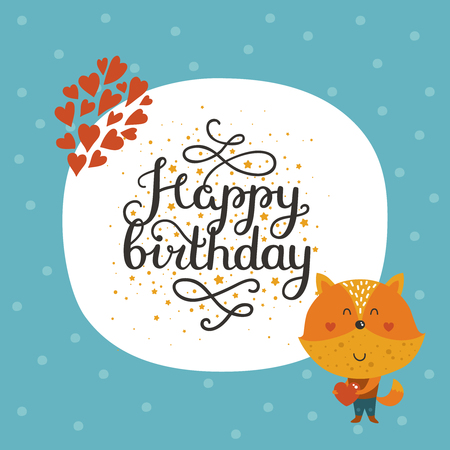 Vector Happy Birthday Card With Cute Fox And Lettering Greeting