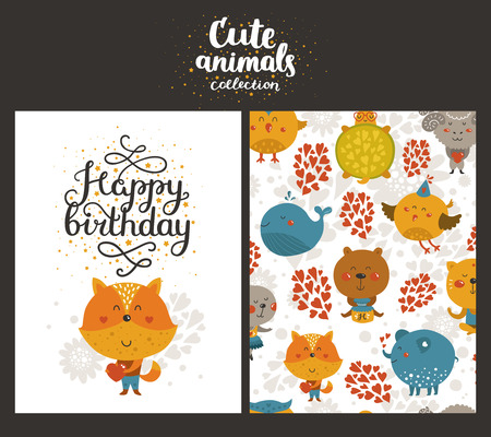 birthday party kids: Vector animal cards, happy birthday card with cute fox and lettering. Kids birthday party
