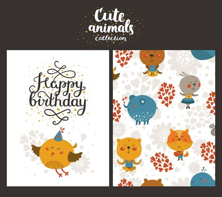 birthday party kids: Vector animal cards, happy birthday card with lettering and cute bird. Kids birthday party