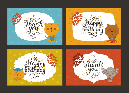 Set of Cute animal cards with lettering and baby animals in love. Cat, bear, owl, merinos. Vector greeting animal card, Thank you, Happy birthday