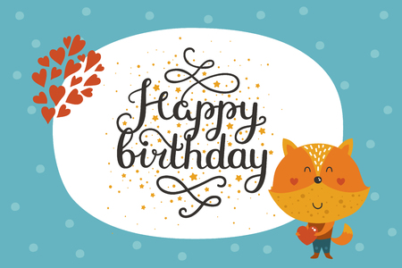 Cute animal card with fox. Happy birthday card with baby animal in love and lettering. Vector greeting animal card