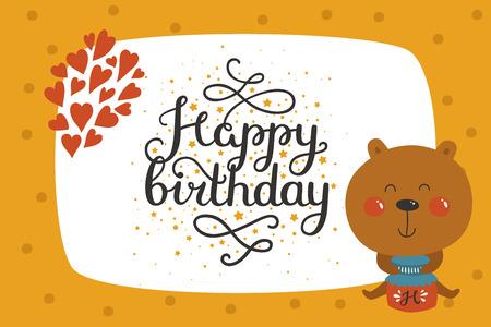 Cute animal card with bear. Happy birthday card with baby animal in love. Vector animal card Ilustrace