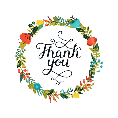 Thank you card with hand lettering and cute floral wreath on white background. Vector thank you card
