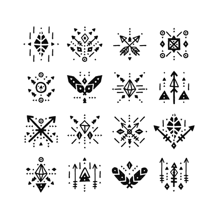 handdrawn: Handdrawn tribal patterns with line, arrow, feathers, decorative elements, geometric symbols Aztec style. Boho pattern, tribal logo, hipster shapes