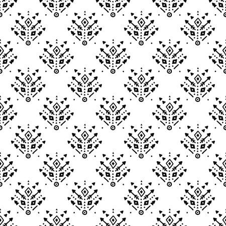 tribal pattern: Hand drawn tribal background with arrow, feathers and geometric symbols boho, aztec style. Tribal pattern