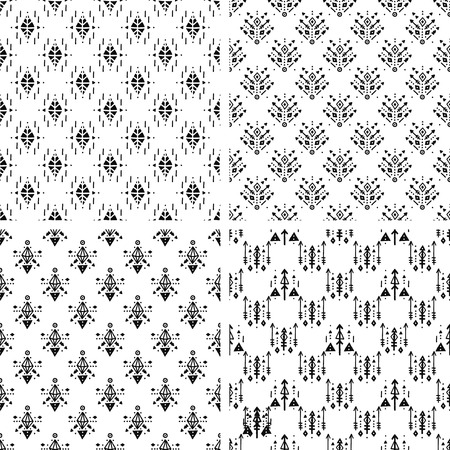 handmade shape: Set of Hand drawn tribal backgrounds with arrow, feathers and geometric symbols boho, aztec style. Tribal print Illustration