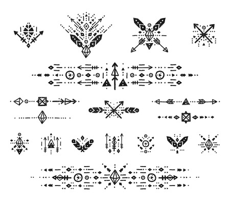symbol decorative: Hand drawn boho patterns with stroke, line, arrow, decorative elements, feathers, geometric symbols Aztec style. Flash Tattoo, tribal pattern, boho