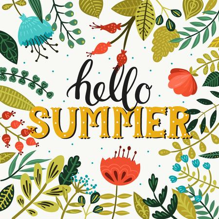 Hallo Sommer. Sommer-Hintergrund mit Schriftzug und Blumen und Brunches auf weiß. Sommerzeit Vektorgrafik