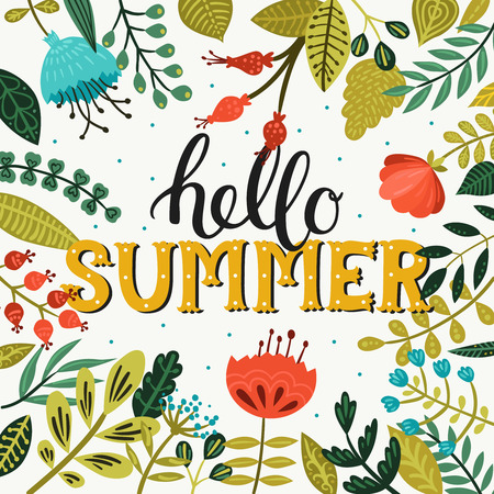 Hallo zomer. Zomer achtergrond met belettering en bloemen en brunches op wit. Zomertijd Vector Illustratie