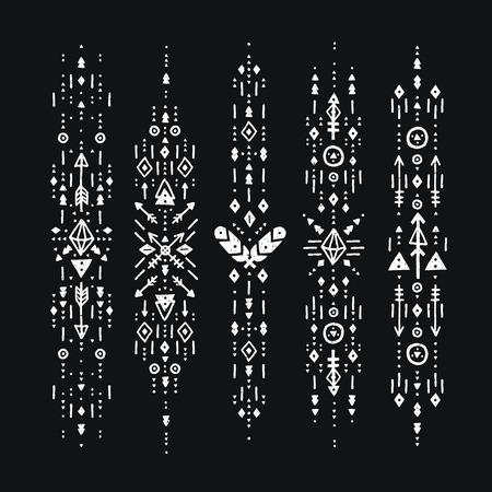 symbol decorative: Hand drawn boho patterns with stroke, line, arrow, decorative elements, feathers, geometric symbols Aztec style. Flash Tattoo, tribal pattern, boho stroke