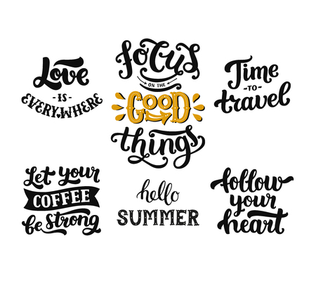 spring summer: Vector photo overlays, hand drawn lettering collection, inspirational quote. Love is everywhere, focus on the good things, time to travel, let your coffee be strong, hello summer, follow your heart Illustration