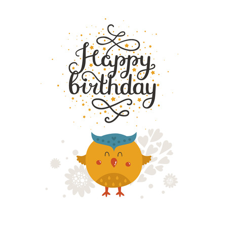birthday party kids: Animal card, happy birthday card. Kids birthday party, animal greeting card Illustration