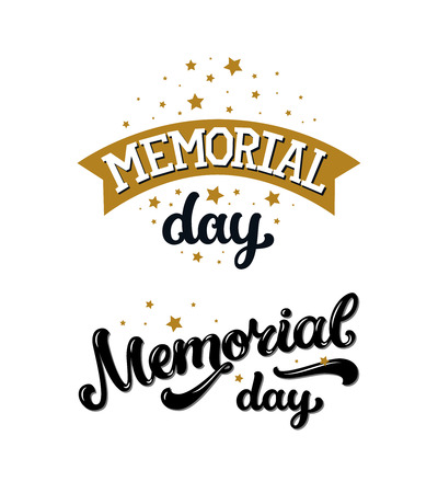 memorial: Happy memorial day, text with stars and ribbon on white background. Vector memorial day background