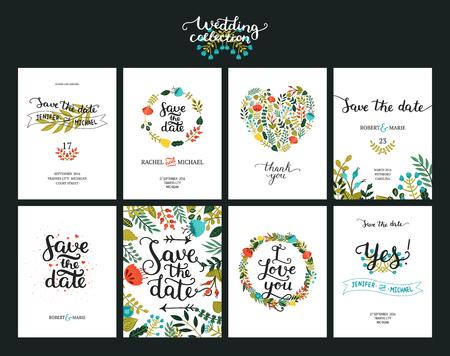 Las tarjetas de fecha, invitación de boda con letras dibujadas a mano, flores y ramas. Guardar la fecha fondo. Vector Guardar las plantillas de fecha