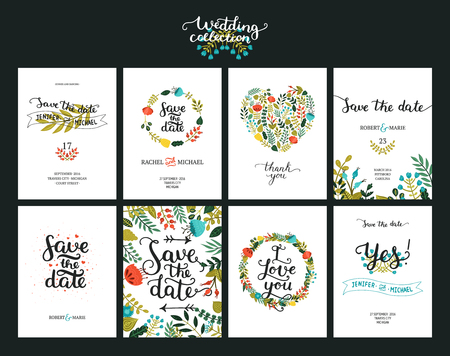 Sauvez les cartes de date, invitation de mariage avec la main dessinée lettrage, des fleurs et des branches. Save the date fond. Vector Enregistrez les modèles de date
