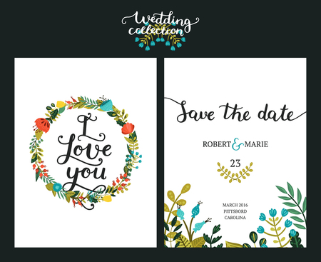 date: Save the date cards, wedding invitation with hand drawn lettering, flowers and branches. Save the date background. Vector Save the date templates