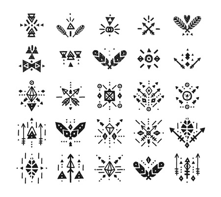 flashes: Handdrawn tribal patterns with line, arrow, feathers, vector decorative elements, boho symbols Aztec style. Boho pattern, tribal, hipster shapes