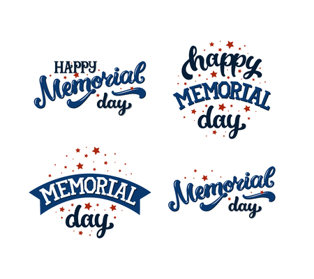 Happy memorial day, text with stars and ribbon on white background. Vector memorial day text. Set of memorial day cards