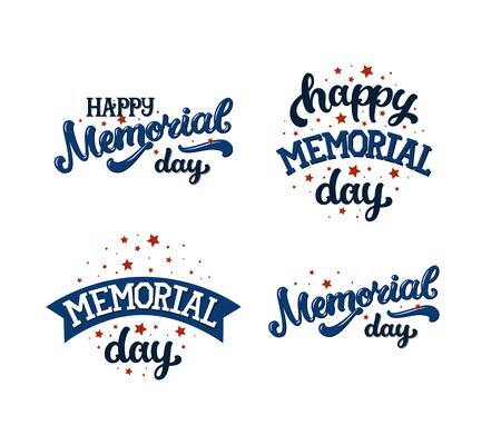 Gelukkige herdenkingsdag, tekst met sterren en lint op witte achtergrond. Vector herdenkingsdag tekst. Set memorial day-kaarten