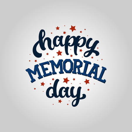 Happy Memorial day card, vector memorial background. Text and stars, memorial day greeting card.