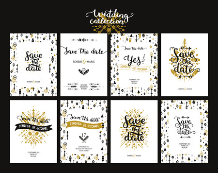 Save the date cards, boho wedding invitation with hand drawn text, feathers, arrows and tribal elements. Gold and black invitations. Vector Save the date templates