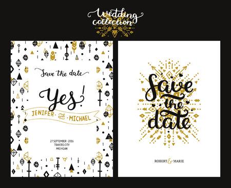 Las tarjetas de fecha, invitación de la boda del boho con dibujados a mano texto, plumas, flechas y elementos de última moda. Oro y invitaciones negras. Vector Guardar las plantillas de la fecha, el ahorro boho