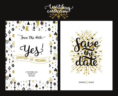 date: Save the date cards, boho wedding invitation with hand drawn text, feathers, arrows and hipster elements. Gold and black invitations. Vector Save the date templates, boho savings