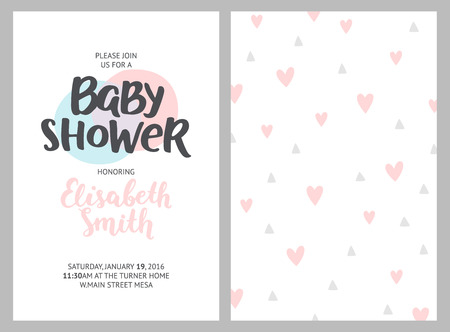 background pink: Baby shower girl and boy invitations, vector templates. Shower pastel cards with feathers, arrows and hand drawn text on white background