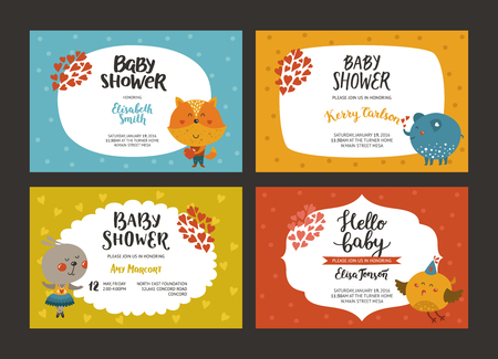 Baby shower girl and boy invitations, vector templates with animals. Shower cards with fox, elephant, rabbit and bird.