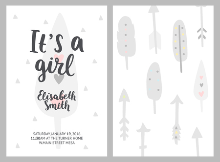 Baby shower girl invitations, vector templates. Its a girl. Shower pastel cards with feathers, arrows and hand drawn text on white background
