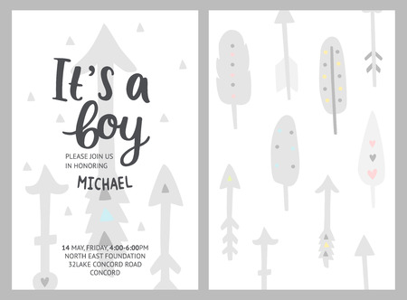 Baby shower boy invitation, vector templates. Its a boy.  Shower pastel cards with feathers, arrows and hand drawn text on white background