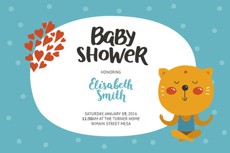 Baby shower girl and boy invitation, vector templates with animal. Shower cards with cute cat. Ilustração